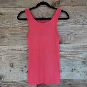 Rose Red Loft Tank with Crochet Trim Size Small
